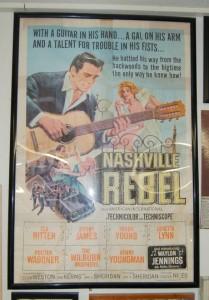 "Original ""Nashville Rebel"" poster displayed at Littlefield movie theater"