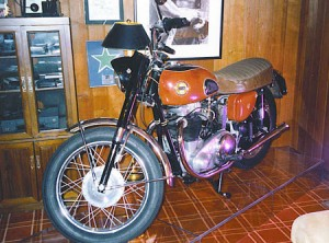 Buddy Holly's 1958 Triumph Ariel Cyclone on display in Waylon Jennings' home (circa 1979)