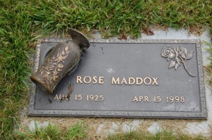 The grave of Rose Maddox in Ashland, OR, with her ashes in the rose urn