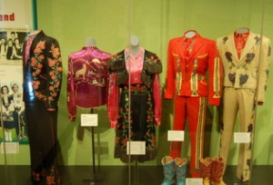 "Maddox Brothers and Rose's ""Colorful Hillbilly"" suits on loan from Marty Stuart"