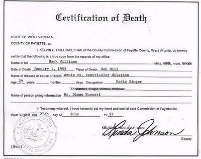 certificate of death template