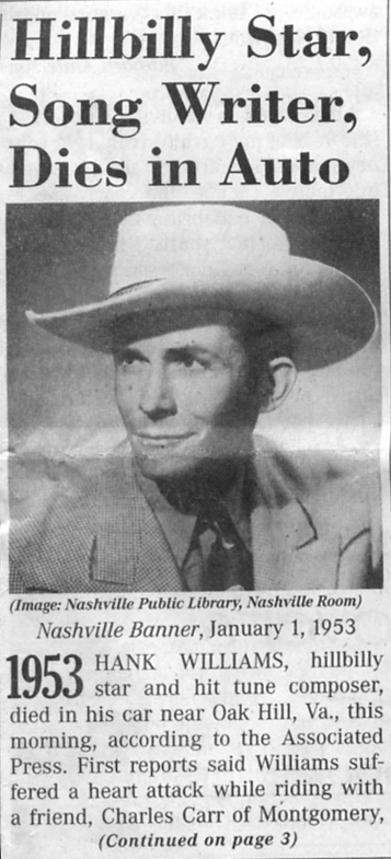 Archive of the Death of Hank Williams