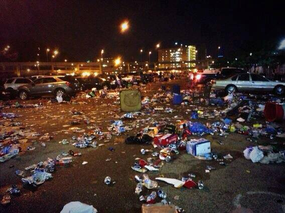 Big Mess & Fights Left in Kenny Chesney / Eric Church Concert Wake