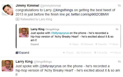 Larry-king-jimmy-kimmel-billy-ray-cyrus-tweet