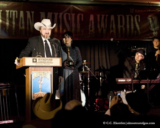 """Johnny Bush accepting his """"Founder of the Sound"""" Award"""
