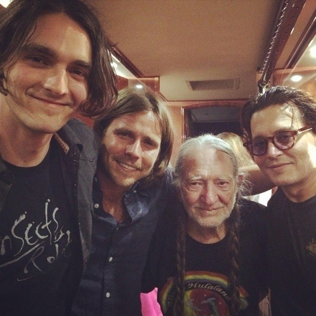 Johnny Depp Joins Willie Nelson's Band in Boston