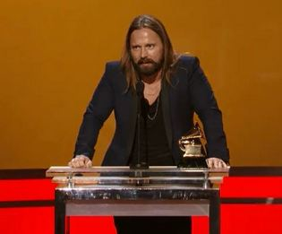 Swedish producer Max Martin accepting his Grammy