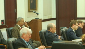Left to right: Private Investigator Larry Flair, defense counsel Ben Raybin, defense attorney David Raybin listening to witness testimony.