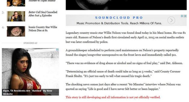 Willie Nelson Is Victim Of Yet Another Death Hoax Of A