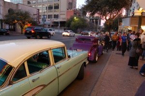 Vintage cars help deliver dignitaries to the event
