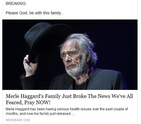 Viral Sites Exploiting Sympathy and Prayers for Country Legends (The Scourge of Facebook, Part 2)