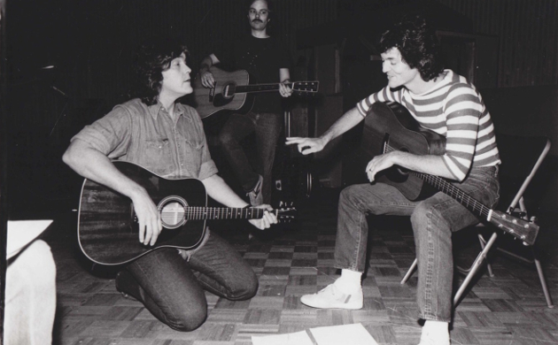 Guy Clark and Rodney Crowell in the studio, 1983. Photo by Jim McGuire. Used with permission.