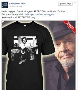 Awesome Tees Merle Haggard Saving Country Music