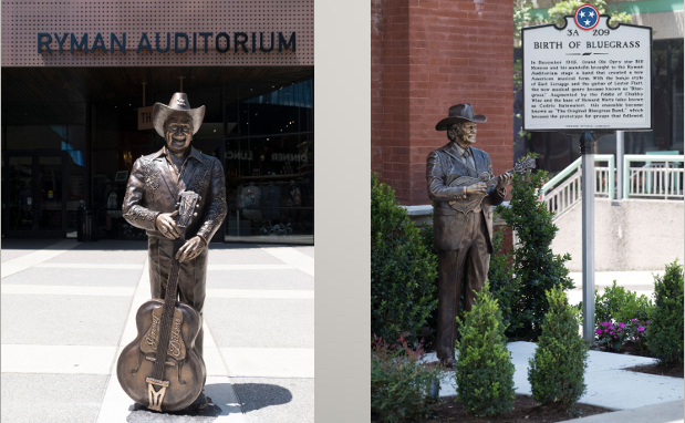"""Little"" Jimmy Dickens & Bill Monroe Receive Brass Statues at the Ryman"