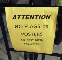"Jamey has since implemented a ""No Flags"" and ""No Posters"" policy at his shows."
