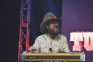Whitey Morgan's steel guitar player, Brett Robinson
