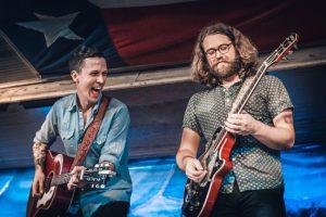 American Aquarium's BJ Barham (left) with new guitar player Shane Boeker (right)