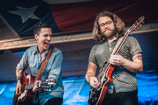 American Aquarium's BJ Barham (left) with new guitar player Shane Boeker (right)